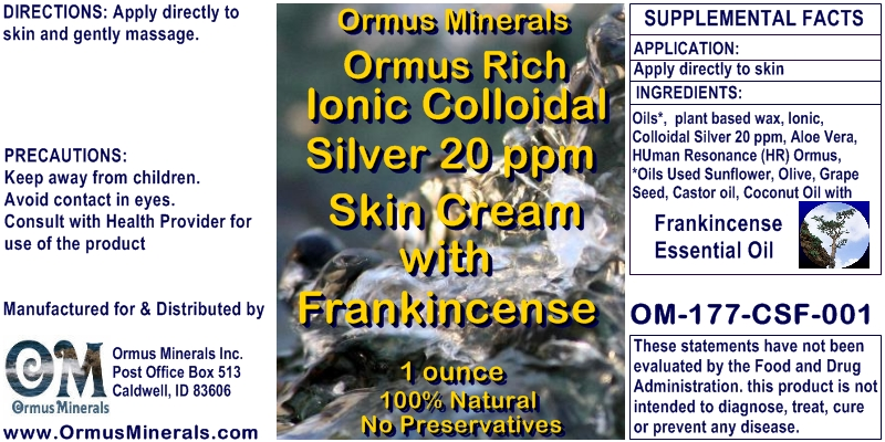 Ormus Minerals Ormus Rich Ionic Colloidal Silver 20 ppm Skin Cream with Frankincense