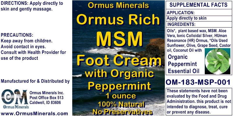 Ormus Minerals Ormus Rich Foot Cream with Organic Peppermint